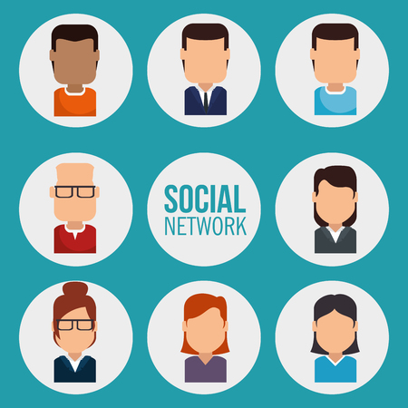 set of avatars profile pictures Creative Social Networking People vector illustration graphic design