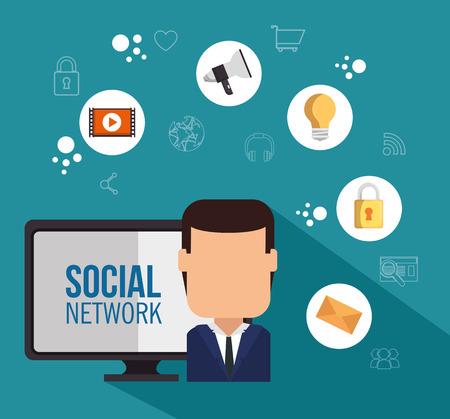 social network concept communication device vector illustration graphic design Illustration