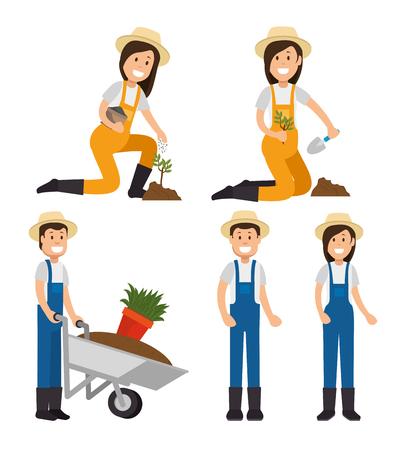 농부 정원사 만화 사람들 젊은 남성과 여성의 수치 벡터 일러스트 그래픽 디자인