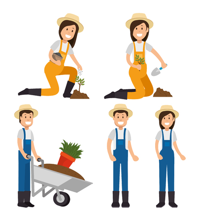 farmer gardener cartoon people  young male and female figures vector illustration graphic design Stock fotó - 94116779