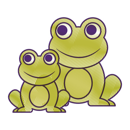 frogs cute animal sitting cartoon vector illustration drawing design Ilustracja