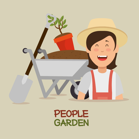 farmer gardener young woman cartoon vector illustration graphic design  向量圖像
