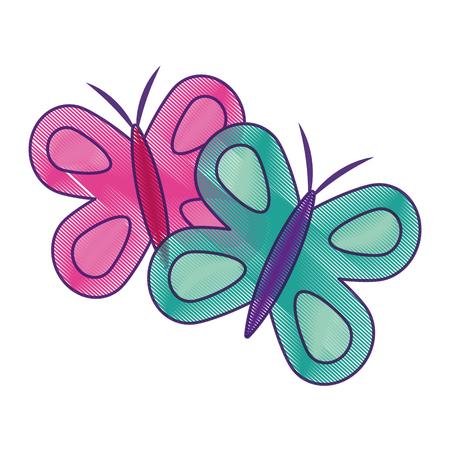 Nette Schmetterlinge Frühling Tier Vektor-Illustration Zeichnung Design Standard-Bild - 94116982