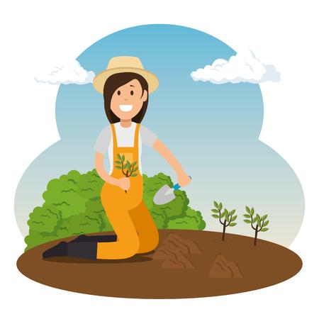 Boer meisje groeit planten tuinieren concept vector illustratie grafisch ontwerp.