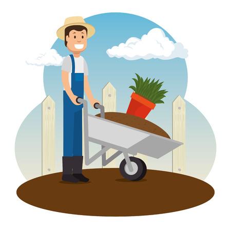 정원에서 일하는 농부 원 예 개념 벡터 일러스트 그래픽 디자인 일러스트