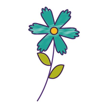 flower stem leaves nature petals decoration vector illustration drawing design Illusztráció