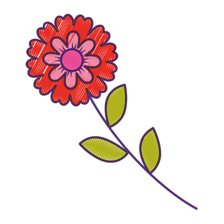 flower stem leaves nature petals decoration vector illustration drawing design Иллюстрация