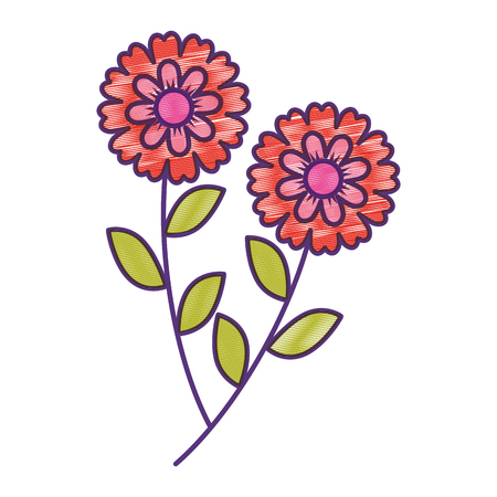 twee bloemen decoratieve lente afbeelding vector illustratie tekening ontwerp