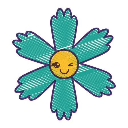 귀여운 파란 꽃 만화 벡터 일러스트 그리기 디자인
