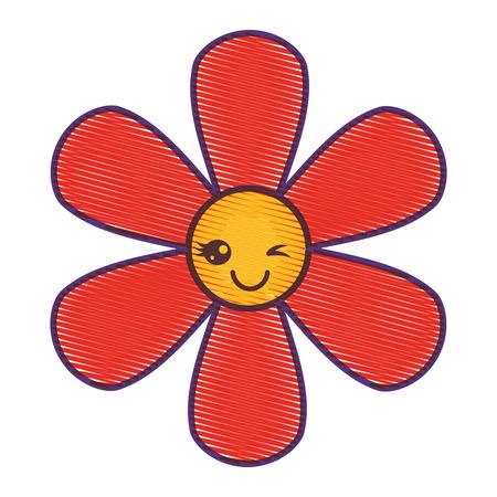 Oranje van het het beeldverhaal botanisch pictogram van bloemkawaii ontwerp van de de illustratietekening vectorillustratie. Stock Illustratie