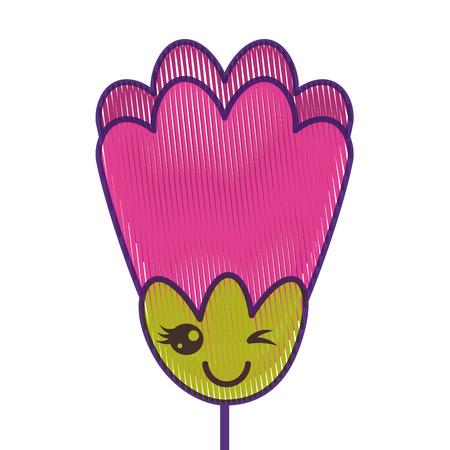 roze bloem kawaii cartoon decoratie vector illustratie tekening ontwerp