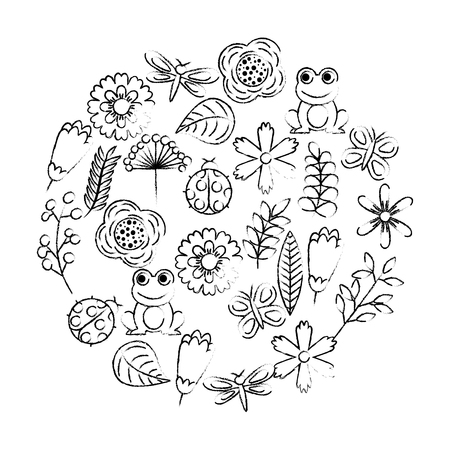set of spring theme nature flowers love birds butterflies ladybugs frog dragonfly vector illustration sketch design
