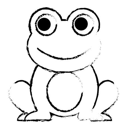 カエルかわいい動物座っている漫画ベクトルイラストスケッチデザイン