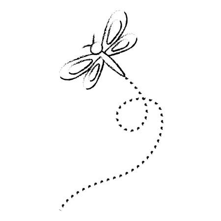 Cute flying dragonfly natural animal vector illustration sketch design.