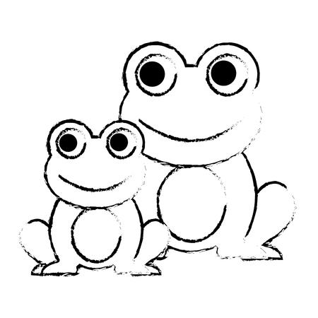 frogs cute animal sitting cartoon vector illustration sketch design