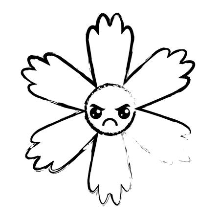 cute blue flower kawaii cartoon vector illustration sketch design
