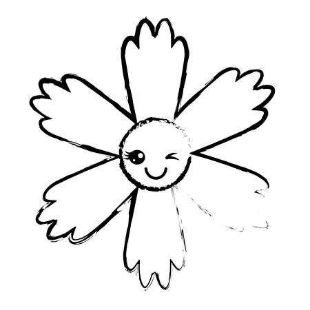 귀여운 푸른 꽃 만화 벡터 일러스트 스케치 디자인 일러스트