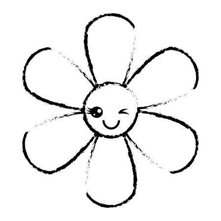 Oranje bloem cartoon botanische pictogram vector illustratie schets ontwerp