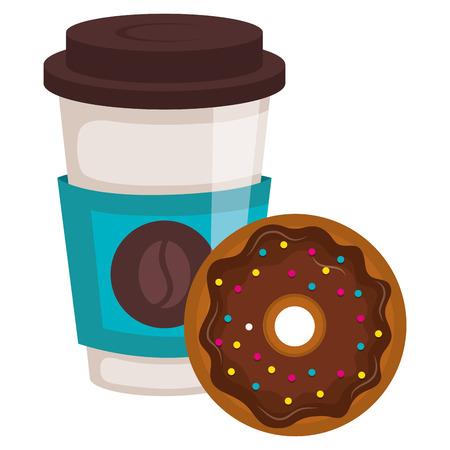 koffie in plastic kop met ontwerp van de doughnut het vectorillustratie