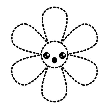 sticker flower kawaii cartoon botanical icon vector illustration