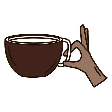 커피 컵 핫 아이콘 벡터 일러스트 디자인 손으로