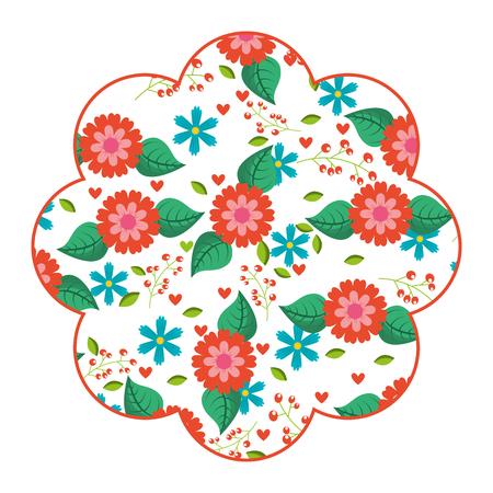 label lente bloemen natuurlijke seizoen sieraad vector illustratie Stock Illustratie