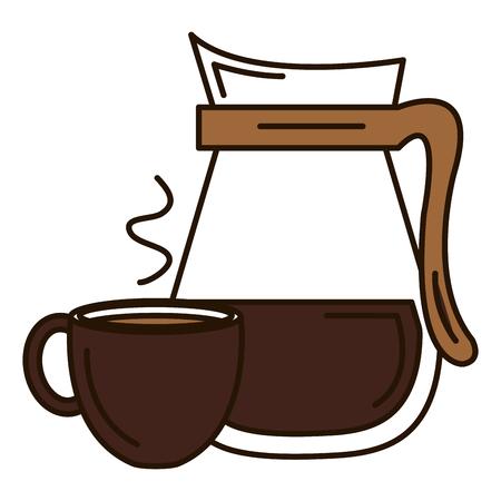 커피 컵 뜨거운 아이콘 벡터 일러스트 디자인 주전자