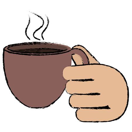 손으로 커피 컵 아이콘 일러스트