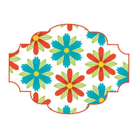 pattern badge floral decoration spring flower image vector illustration