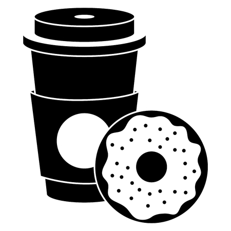 Coffee in plastic cup with donut vector illustration design.