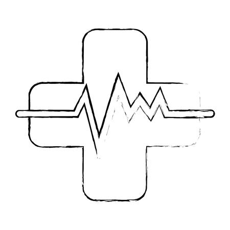 パルス心臓ベクトルイラストデザインとクロス