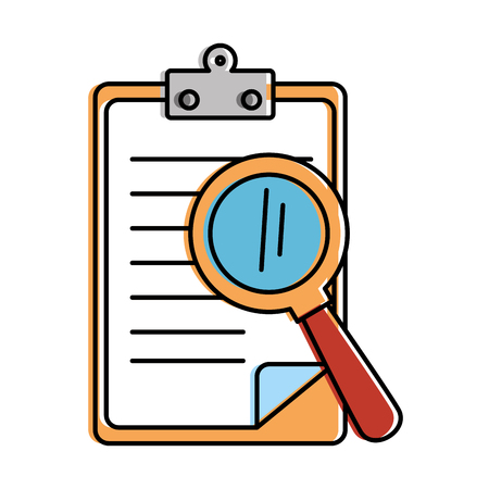 clipboard document with magnifying glass vector illustration design