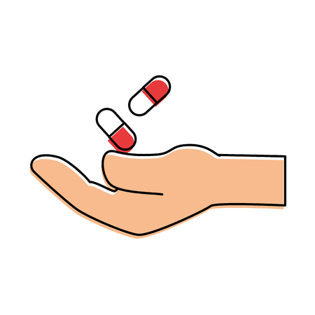 hand with capsules medicine isolated icon vector illustration design