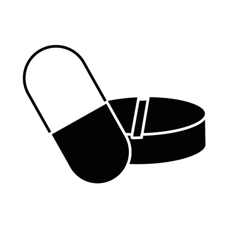 Capsules en pillen het geneeskunde geïsoleerde ontwerp van de pictogram vectorillustratie