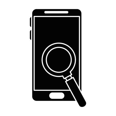 Smartphone with magnifying glass vector illustration design Illusztráció