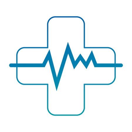 cross with pulse cardiac vector illustration design