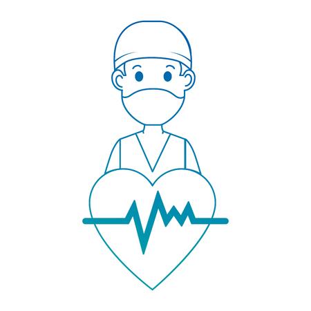 心臓アバターキャラクターアイコンベクトルイラストデザインの外科医医師  イラスト・ベクター素材
