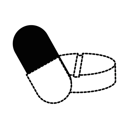 Capsules and pills medicine isolated icon vector illustration design