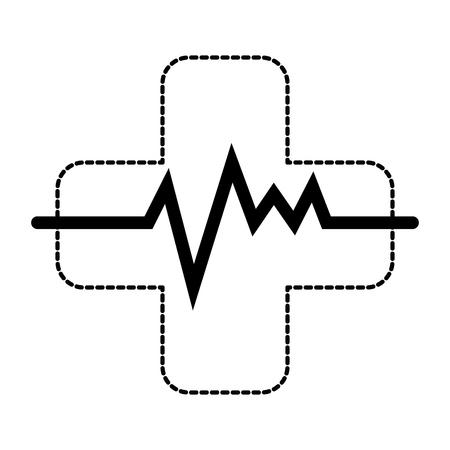 맥박이 심장 벡터 일러스트 디자인과 교차