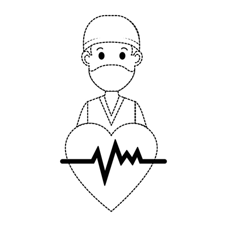 ●心臓アバターキャラクターアイコンベクトルイラストデザインの外科医医師。  イラスト・ベクター素材