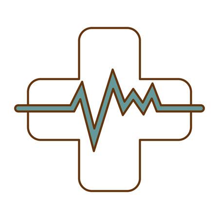 Cross with pulse cardiac vector illustration design