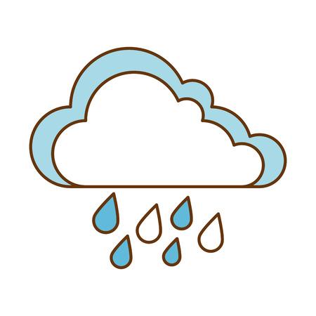 날씨 구름 비오는 아이콘 벡터 일러스트 디자인