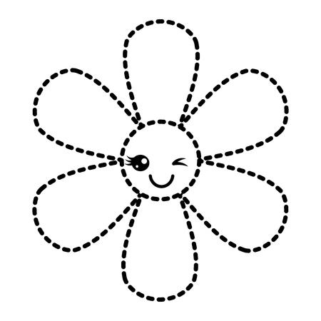 sticker flower cartoon botanical icon vector illustration