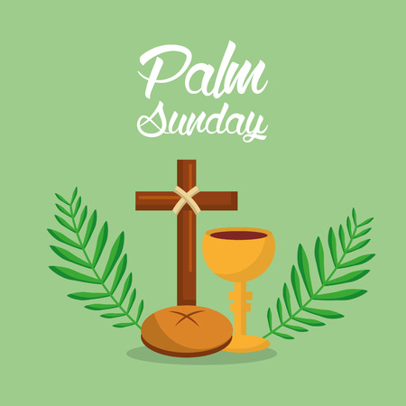 palm sunday holi week cross bread vector illustration