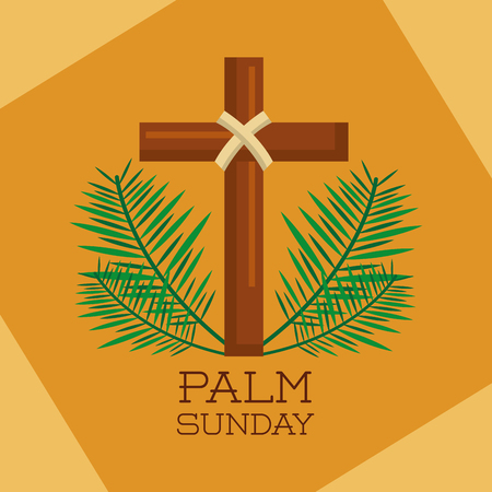 palm sunday sacred cross branches decoration vector illustration