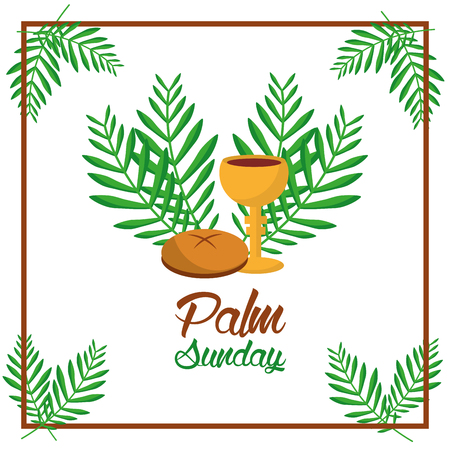 palm sunday bread cup and leaves tree frame decoration vector illustration
