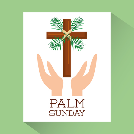 palm sunday hands with cross religious poster vector illustration