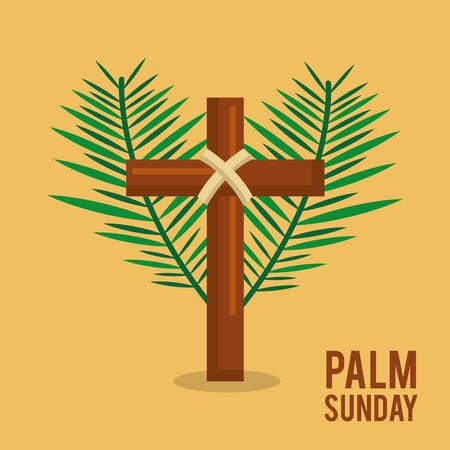 손바닥 일요일 십자가 부활절 축하 벡터 일러스트와 함께 텍스트를 분기합니다. 일러스트