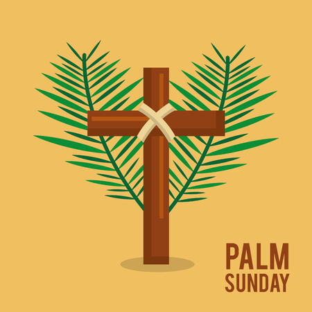 palm sunday branches text with cross easter celebration vector illustration Illustration