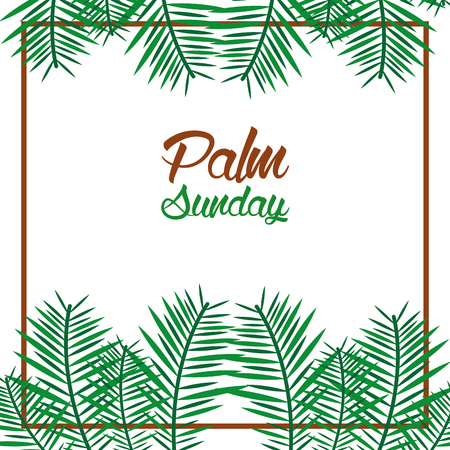 palm sunday card with leaves border frame vector illustration